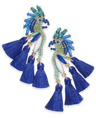 Image of I.N.C. Gold-Tone Mixed-Metal Blue Bird Stud Earrings, Created for Macy's