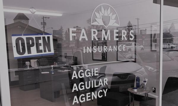 Window of Farmers Insurance Aggie Aguilar Agency