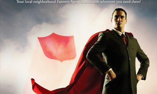 Illustration of a Farmers Insurance agent wearing a cape.