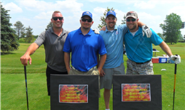 Tyler Wilk with friends at the 2015 Shepherd Fire Golf Outing