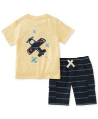 Image of Kids Headquarters 2-Pc. Graphic-Print Cotton T-Shirt & Striped Shorts Set, Baby Boys