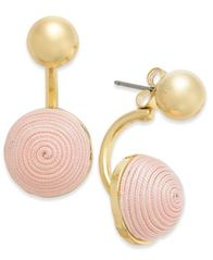 Image of INC International Concepts Gold-Tone Wrapped Ball Stud Front & Back Earrings, Created for Macy's