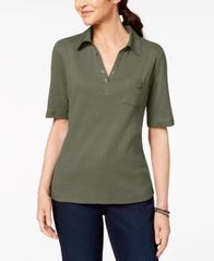 Image of Karen Scott Cotton Studded-Collar Polo Shirt, Created for Macy's