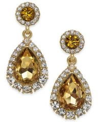 Image of Charter Club Gold-Tone Pavé & Stone Drop Earrings, Created for Macy's