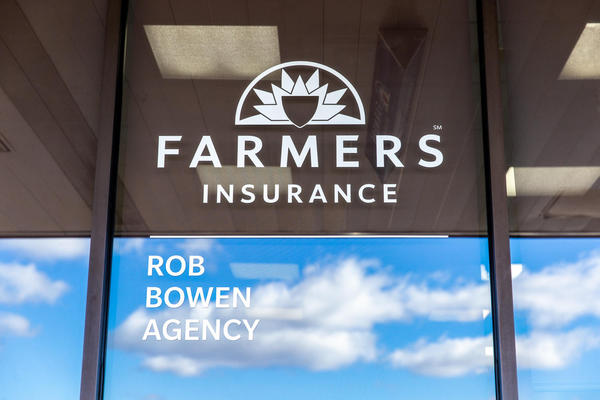 Farmers logo on window