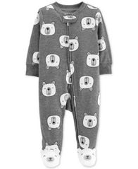 Image of Carter's Baby Girls & Boys Polar Bear Cotton Footed Pajamas