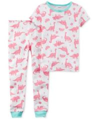 Image of Carter's 2-Pc. Dinosaur-Print Cotton Pajamas, Little Girls & Big Girls
