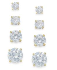 Image of Giani Bernini Cubic Zirconia Stud Set in 18k Gold over Sterling Silver