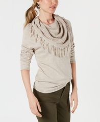 Image of Style & Co Fringe-Trimmed Cowl-Neck Sweater, Created for Macy's