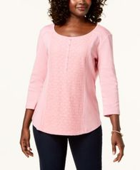 Image of Karen Scott Cotton Lace-Front Henley Top, Created for Macy's