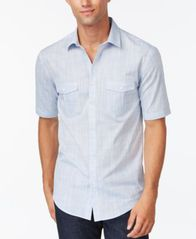 Image of Alfani Men's Warren Textured Short Sleeve Shirt, Created for Macy's