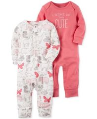 Image of Carter's 2-Pk. I Woke Up This Cute Cotton Coverall Set, Baby Girls