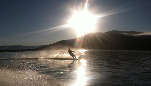 Early Morning Water Skiing! Love our Utah Lakes!