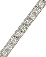 Image of Sterling Silver-Plated Diamond Accent Greek Key Bracelet