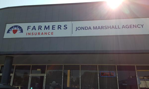 Store font with Farmers logo reading Jonda Marshall Agency.