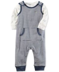 Image of Carter's 2-Pc. Cotton Dog-Print T-Shirt & Striped Coverall Set, Baby Boys