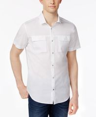 Image of Calvin Klein Men's Stretch Snap-Front Dual-Pocket Shirt