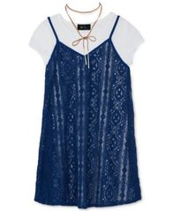 Image of BCX Layered-Look Slip Dress, T-Shirt & Necklace Set, Big Girls (7-16)
