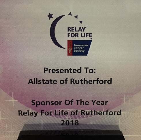 Dan Meredith Agency, LLC - Relay for Life of Rutherford Sponsor of the Year