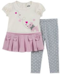 Image of Kids Headquarters Baby Girls 2-Pc. Puppy & Bow Tunic & Leggings Set