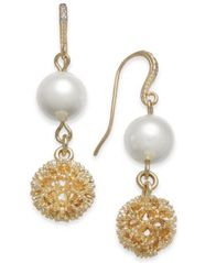 Image of Charter Club Gold-Tone Textured & Imitation Pearl Double Drop Earrings, Created for Macy's