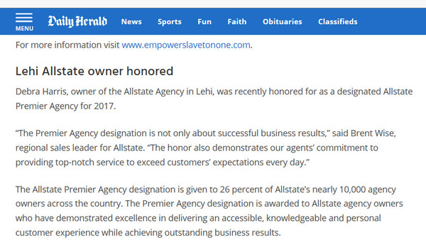Debra Harris - Debra Harris Agency Recognized As Allstate Premier Agency