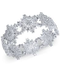 Image of Charter Club Silver-Tone Crystal Snowflake Stretch Bracelet, Created for Macy's