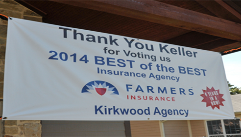 Banner thanking the Keller community for voting agency the Best of the Best Insurance Agency