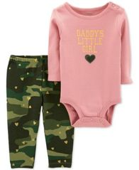 Image of Carter's Baby Girls 2-Pc. Cotton Daddy's Girls Bodysuit & Camo-Print Pants Set