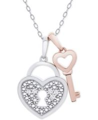 "Image of Diamond Accent Heart Lock & Key 18"" Pendant Necklace in Sterling Silver & 14k Rose Gold-Plate"