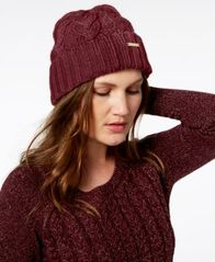 Image of MICHAEL Michael Kors Pointelle Cable Cuff Beanie, Created for Macy's