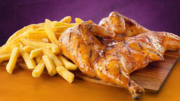 Whole flame grilled chicken with chips