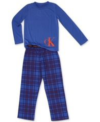 Image of Calvin Klein Big Boys 2-Pc. Terry Pajama Set