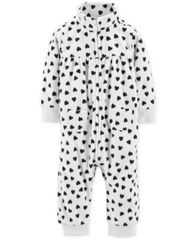 Image of Carter's Baby Girls Heart-Print Fleece Coverall