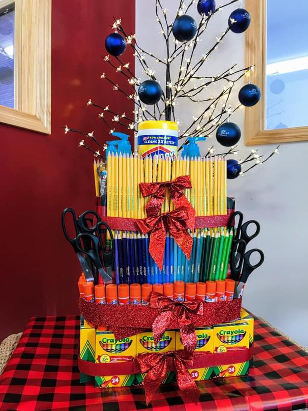 School supply tower raffle