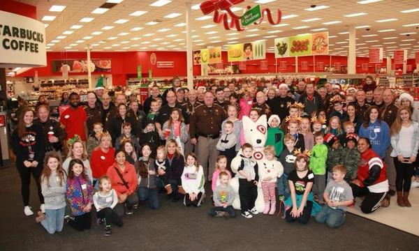 Large group of people shopping at Target