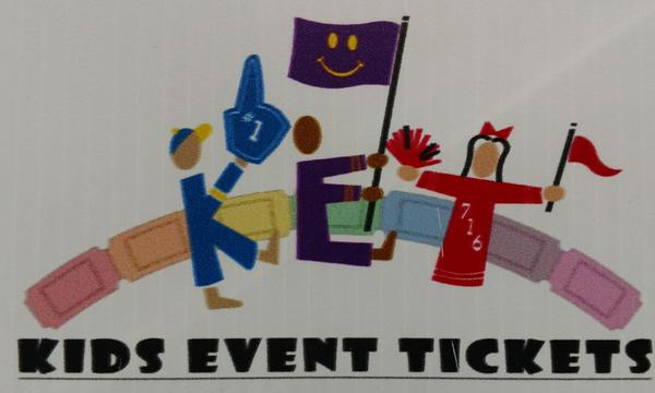 Colorful sign that reads 'Kids Event Tickets'