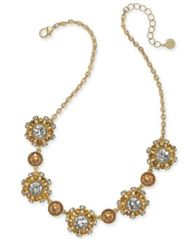 "Image of Charter Club Gold-Tone Stone & Crystal Cluster Pinwheel Cluster Collar Necklace, 17"" + 2"" extender,"