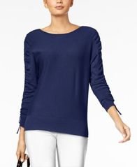 Image of Alfani Drawstring Tie-Sleeve Sweater, Created for Macy's