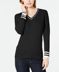 Image of Tommy Hilfiger Cotton V-Neck Sweater, Created for Macy's