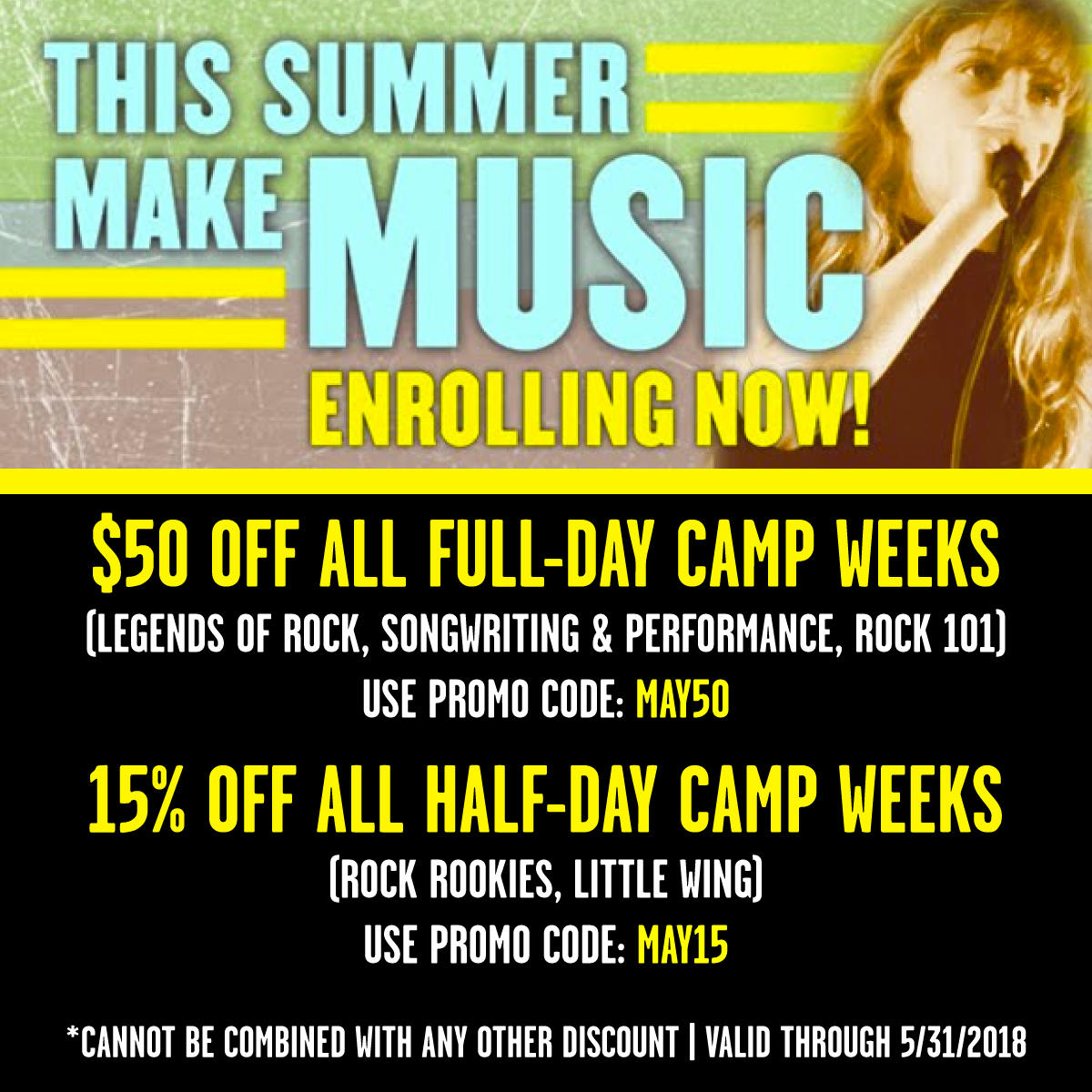 Image of THIS SUMMER MAKE MUSIC: HUGE DISCOUNTS ON SUMMER CAMPS THROUGH 3/31