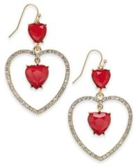 "Image of Thalia Sodi Large Gold-Tone Red Heart Drop Earrings, 2"", Created for Macy's"