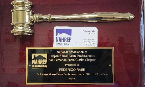 A real estate professional award for Agent Federico Rabe.