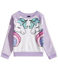 Image of Awake Little Girls Plush Unicorn Sweatshirt