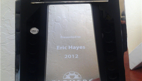 Championship award for Eric Hayes