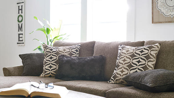 couch with decorative pillows on it