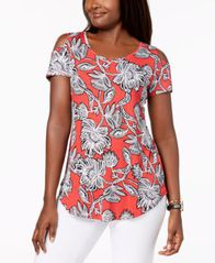Image of JM Collection Printed Cold-Shoulder T-Shirt, Created for Macy's