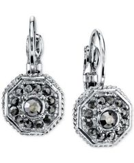 Image of 2028 Silver-Tone Leverback Earrings with Stone Accents, a Macy's Exclusive Style