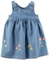 Image of Carter's Embroidered Cotton Chambray Dress, Baby Girls