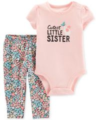 Image of Carter's Baby Girls 2-Pc. Graphic-Print Cotton Bodysuit & Floral-Print Pants Set